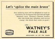 WATNEY'S PALE ALE ON ALL EAGLE STEAMERS, England, 1937, 250gsm A3 Poster