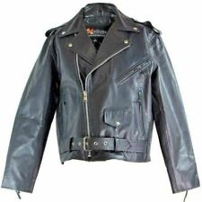 Men genuine black leather motorcycle jacket Size 2 XL