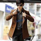 Mens Double-Breasted Peacoat Wool Trench Coat Jacket Winter Outwear Overcoat Sz