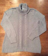LT07~Ladies FASHION BUG Gray Ribbed Turtle Neck Crochet Sweater, Medium