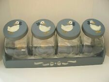 Vintage 4 Country Goose Glass Kitchen Canister Set w/Wood Lids Handpainted Blue