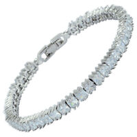 Melina White Topaz Cubic Zirconia Square Cut 18K White Gold Gp Tennis Bracelet