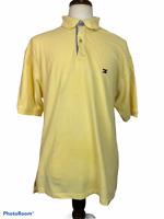 Tommy Hilfiger mens golf polo shirt size XL yellow blue  100 % cotton flag logo