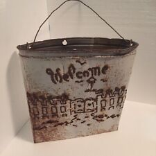 Vintage Shabby Welcome Flat Metal Pale Wall Decor Bucket Rustic Farmhouse Chic