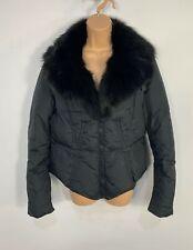 WOMENS MAX&CO BLACK V NECK FUR COLLAR PADDED WINTER RAINCOAT JACKET SIZE UK 14