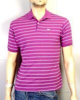 vtg 70s 80s Garan men's Single Stitch Purple White Striped Polo Shirt Animal M/L