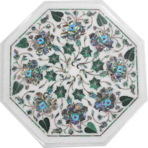 "15""x15"" Handmade Home Decor Indian Marble Coffee Floral Design Inlay Table Top"