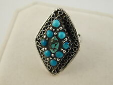 TURQUOISE STERLING PETIT POINT RING BLUE GREEN SILVER 925 SIZE 6 1/4