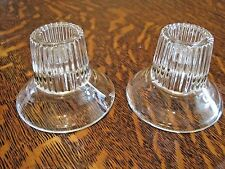 "Pair Vintage glass circular ribbed candle stick holder base 3"" dia. 2 1/2"" tall"