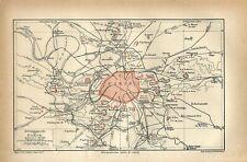 1895 FRANCE PARIS CITY and SUBURBS Antique Map