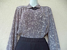 Vintage 80s Blouse Victorian Edwardian Style Pointed Ascot Secretary Office L Xl