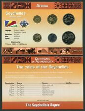 Seychelles 2 cent - 5 rupees 2004-2007 UNC Coin Set New World Money Series w/CoA