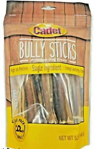 Cadet Bully Sticks Premium Dog Treats Long-Lasting Small Chews 12 Pack 03/2022