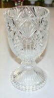 "Vintage Large Pressed Glass Goblet, 5-1/8"" Diameter X 9-5/8"" Tall"