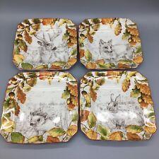 222 Fifth Birkhill Manor Orange Salad Dessert Plate Set of 4 Thanksgiving NEW