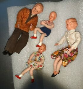 Caco Germany Cloth Dolls Mother Father Boy Girl Family
