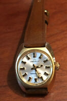 Vintage 70's Caravelle  Transistorized Gold Plated  Watch new battery&Strap Runs
