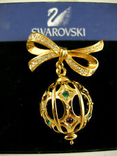SIGNED SWAROVSKI PAVE' CRYSTAL CHRISTMAS BOW BULB PIN ~BROOCH RETIRED RARE
