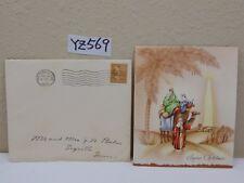 VINTAGE CHRISTMAS CARD-ENVELOPE-STAMP 1940'S 3 WISE MEN-NORTH STAR-ON CAMELS