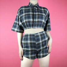 VINTAGE Navy Blue Check Pattern 90s Grunge Crop Two Piece Shirt Shorts XS 6 8