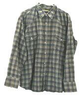 Round'em Western Gear Men's XL Long Sleeve Pearl Snap Button Up Plaid Shirt
