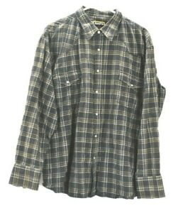 Round'em Western Gear Men's XL Long Sleeve Pearl Snap Button Up Plaid Shirt