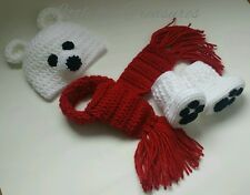 Newborn Baby Christmas Polar Bear Hat Booties and Scarf Photo Prop Outfits
