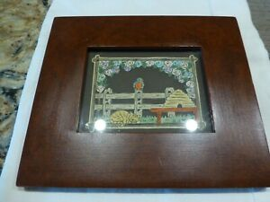 Sandra Gilpin Scherenschnitte Scissor Cut Folk Art Framed Cat Bird Fence Signed