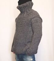 Hand knitted VERY THICK 100% WOOL mens sweater with turtleneck woolen pullover