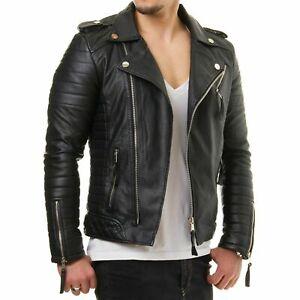 Mens Motorcycle Genuine Lambskin Leather Jacket Black Slim fit Biker Jacket