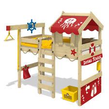 WICKEY Kinderbett Hochbett Crazy Jelly - rote Plane Hausbett 90 x 200 cm