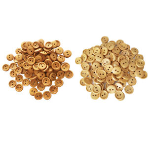 200Pcs Wooden 2 Holes Round Sewing Buttons DIY Craft Scrapbooking 13mm 15mm