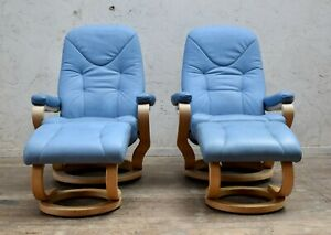 PAIR HIMOLLA ZEROSTRESS (SMALL/MED) LEATHER SWIVEL RECLINING CHAIRS & FOOTSTOOLS