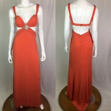 Vintage Cache 4 Orange Cutout Draped Ruched Rhinestone Formal Maxi Dress Small