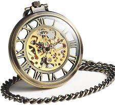 Open Face Fob Bronze Vintage Roman Mechanical Skeleton Big Case Pocket Watch