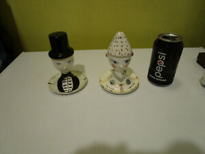 Vintage Salt and Pepper Shakers / EGG CUPS Man & Lady w/ Hats FEATHER ARROW Mark