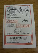 22/11/1988 dover Athletic V Canterbury CITY [Kent Senior Cup] (luce RUSTY Stapl