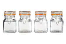 Premier Set of 4 90ml Glass Jars Pots Dishwasher Safe with Airtight Clip Top Lid