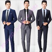 New Mens British Button Slim Fit Business Dress Wedding Suits + Pants 2pc Suit