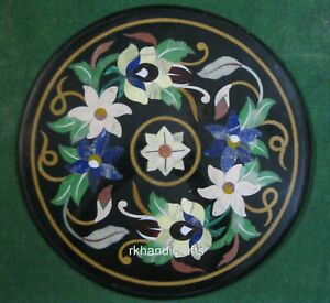 18 Inches Marble Sofa Side Table Top Inlay Coffee Table with Multi Color Stones
