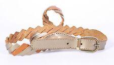 G50 Damen Gürtel Leder braun gold 80 cm Taillengürtel Vintage Boho Flechtgürtel
