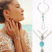 Fashion Silver Chain Ring Boho Turquoise Multilayer Tassel Bracelet