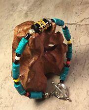 "Heishi Turquoise Lucky Buddhist Hooked Cross Southwest 9"" Bracelet Artisan"