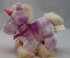 "Unicorn Purple Pink Horn Sparkle Tail Mane Feet Bow Plush Dan Dee Toy 10"" Lovey"