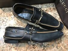 100% AUTHENTIC GUCCI MEN'S BROWN LEATHER SLIP ON LOAFERS, LIMITED, SIZE 10.5