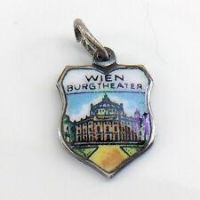 Wien Vienna Austria Burgtheater Silver Enamelled Charm Pendant 0.9g 0.5in I953