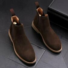 New Men High Top Polish Simple Pull On Block Low Heel Casual Ankle Chelsea Boots
