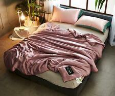 Solid Color  Super Cozy Soft Thin Quilt Ice Silk Summer Air Conditioning Blanket