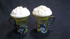 Vintage Plastic Egg Ice Cream Float Handle Glass Salt and Pepper Shakers      51