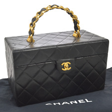 Auth CHANEL Quilted CC Cosmetic Makeup Box Hand Bag Mirror Black VTG AK17439b